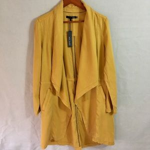 Max Jeans Yellow Tencel Drape Long Jacket Medium